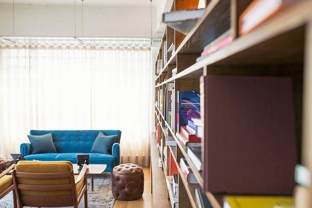 bibliothèque, livre, canapé